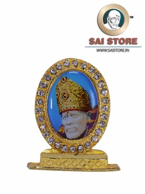 Sai Baba Face With Crown Gold Plated & Round Diamond Stand - Blue Background -