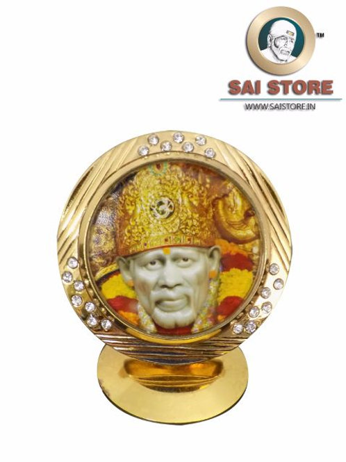 Sai Baba Diamond Gold Plated Idol Mirrored Stand - Round Shape - Golden Crown