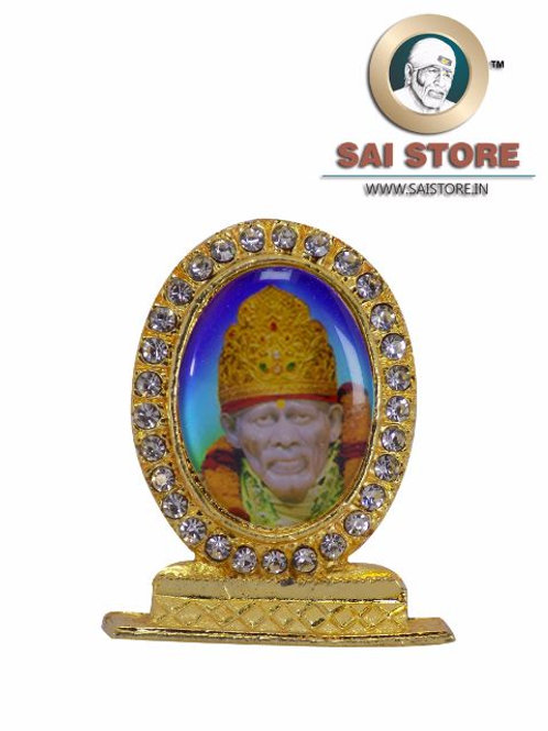 Sai Baba Samadhi Gold Plated & Round Diamond Stand - Blue Background