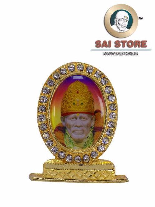 Sai Baba Samadhi Gold Plated & Round Diamond Stand - Colorful Background