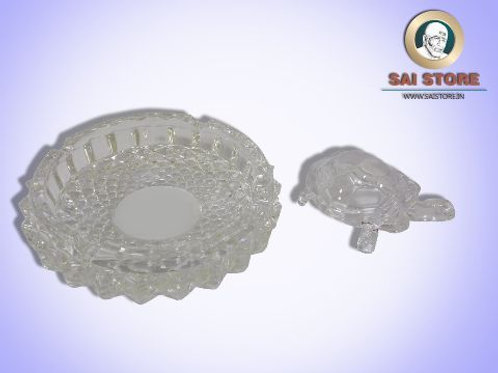 Glass Ash Tray with Tortoise