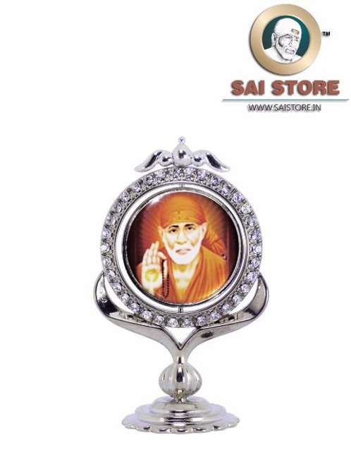 Sai Baba Diamond With Silver Plated Metal Stand - Brown Background