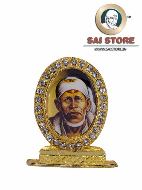 Sai Baba Dwarkamai Gold Plated & Round Diamond Stand - Golden  Background