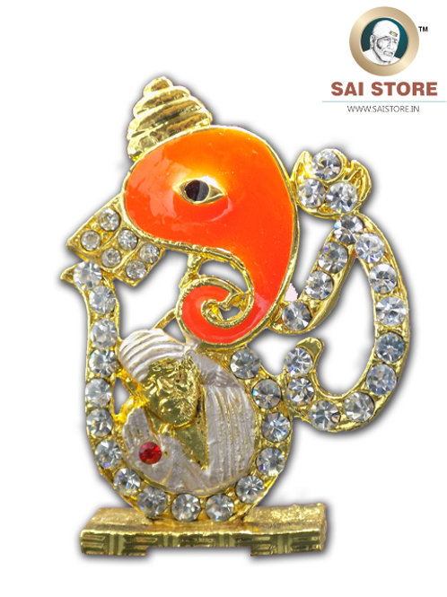 Om Sai Ganesh Diamond With Gold Plated Metal Stand (Orange-White) - No.- 50