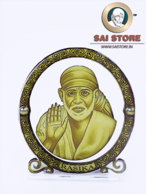 Sai Baba Wooden Acrylic Stand - Ashirwad - Round - Small  (Yellow )