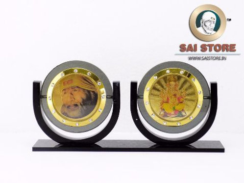 Sai Ganesh Diamond With Gold Plated Black Acrylic Pair Stand