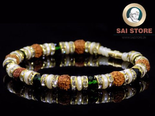 Panch Mukhi Rudraksha With Green Stone & White Diamond Bracelet No.40