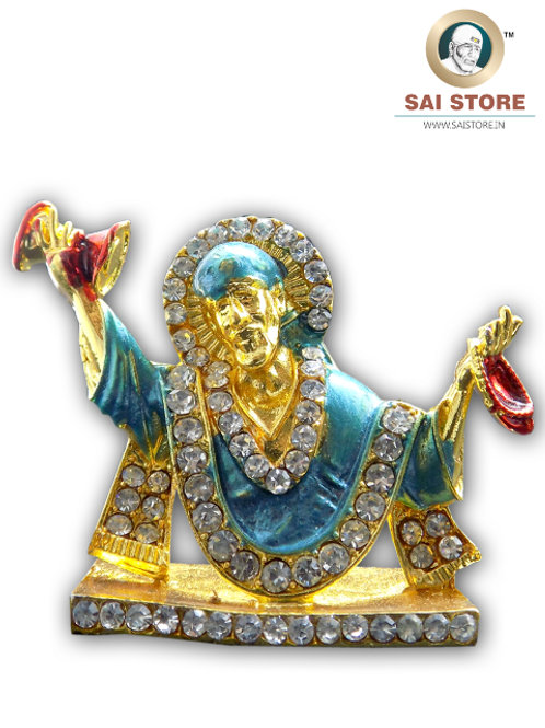 Sai Baba Diamond With Gold Plated Metal Stand (Blue) - No.- 80
