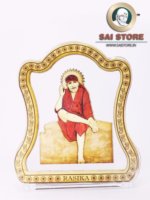 Sai Baba Wooden Acrylic Stand - Dwarkamai -Letter - Small - ( Red )