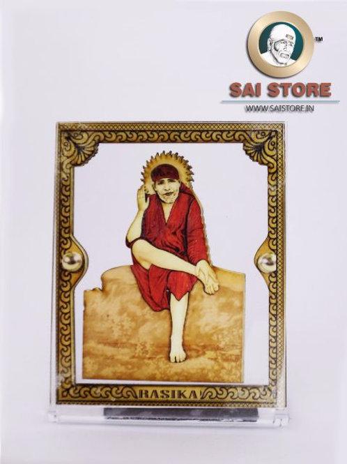 Sai Baba Wooden Acrylic Stand - Dwarkamai -  Cube - Small