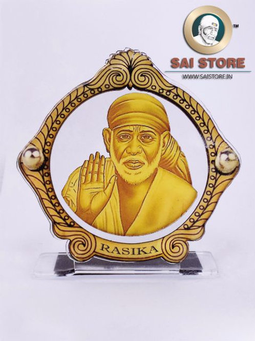 Sai Baba Wooden Acrylic Stand - Ashirwad - Bordered Round - Large - ( Yellow )