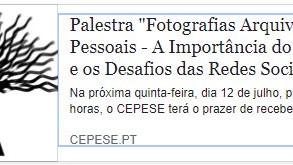 """Palestra """"Fotografias Arquivos Pessoais - A Importância do Contexto e os Desafios das Redes Soc"""