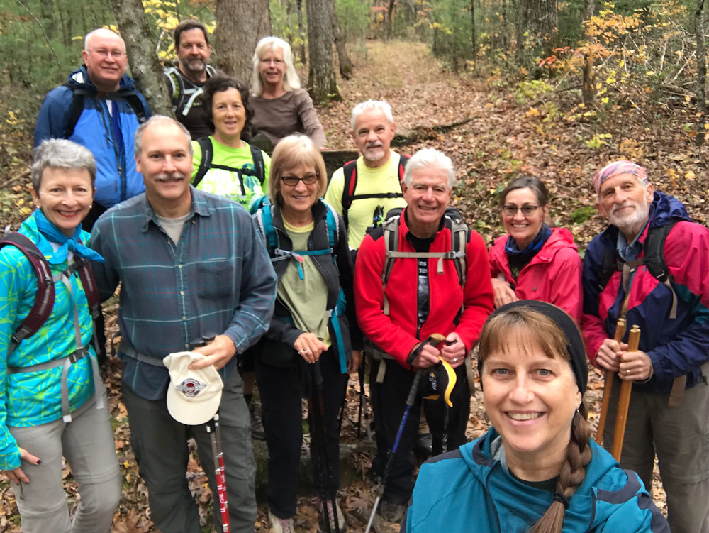 The All Who Wander hiking group on a trail in the Smoky Mountains