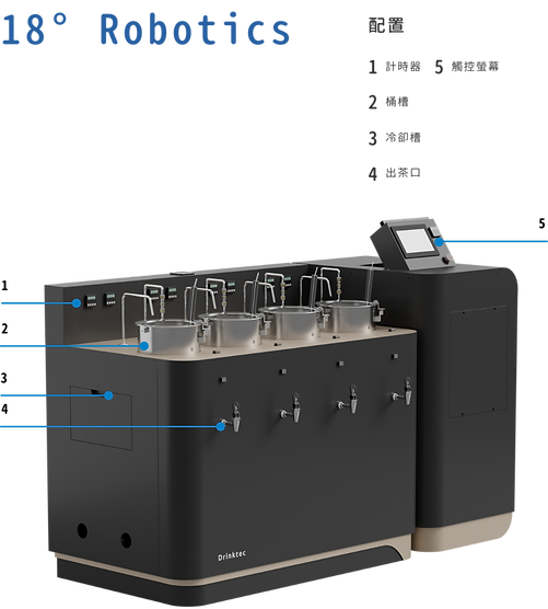 18° Robotics Auto-Tea cooker 智能煮茶機 規格 Drinktec