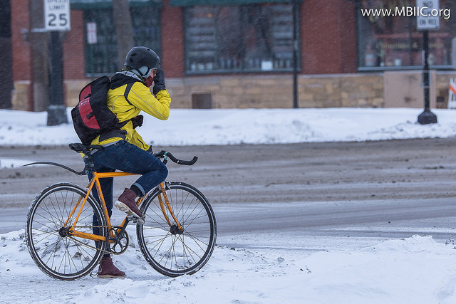 Photo of a winter cyclist by TheArcaneFlame on flickr
