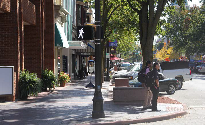 Pedestrians in downtown Columbus. Photo submitted as part of Plan4Health http://plan4health.us/columbus-indiana-walking-toward-greatness/