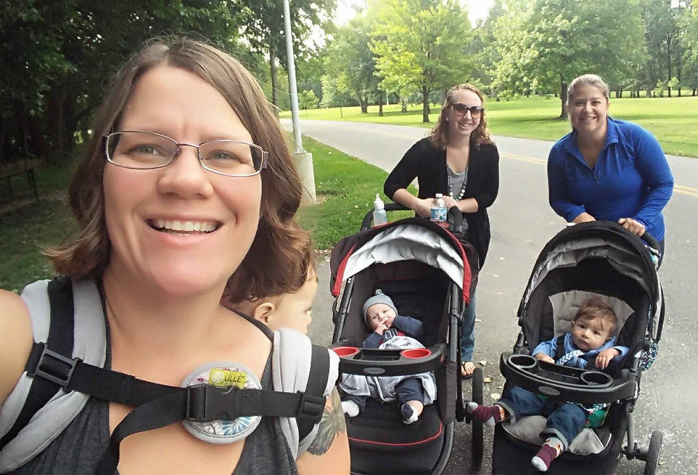 """Ellen says the group stays motivated to walkbecause they all enjoy each other's company and just being outside. She adds that """"figuring out how to get a workout in with a clingy child has been tricky for me (and probably other moms)""""but she feels lucky thather 1 year-oldson is happy to ride in the stroller for an hour or so."""