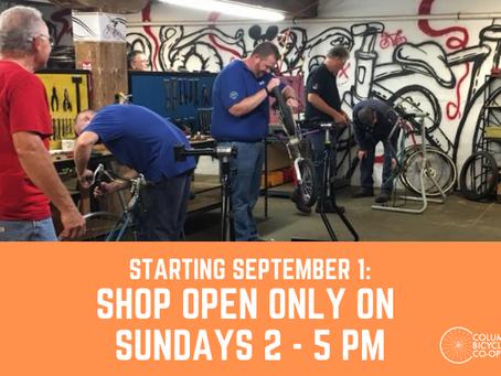 Shop open only on Sundays starting in September