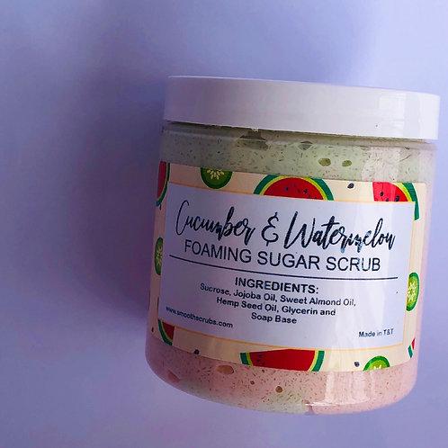 Foaming Sugar Scrub - Cucumber and Watermelon 8oz