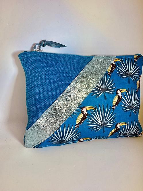 Pochette de sac toucan turquoise