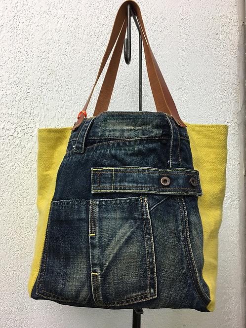 Cabas bi matière jean et lin jaune