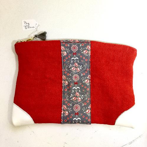 Pochette de sac lin rouge