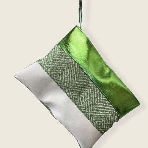 Pochette XL 3 matières verte
