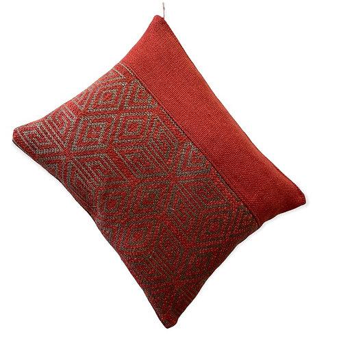 Pochette XL lin et toile d'ameublement rouge et taupe