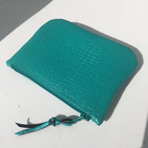 Porte monnaie simili croco turquoise