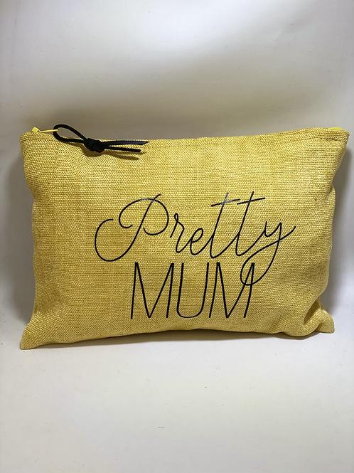 Pochette humour lin jaune pretty mum