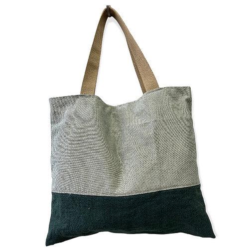 Tote bag lin vert bouteille et coton or