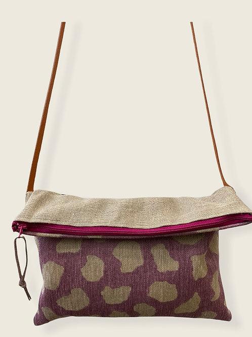 Petit sac bandoulière 2 en 1 lin et velour mauve