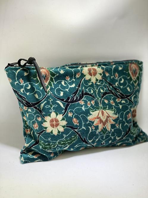 Pochette de sac en velour vert/bleu