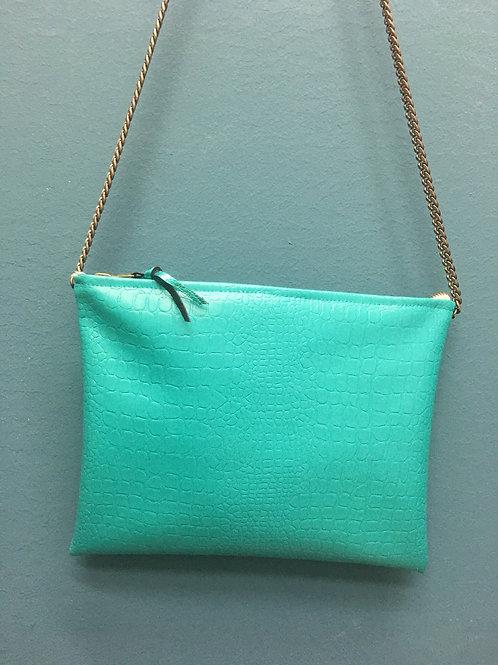 Pochette XL/petit sac croco turquoise avec chaîne