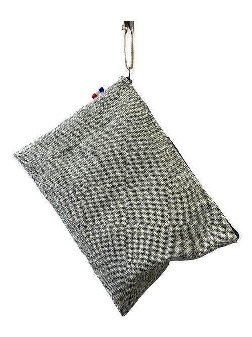 Pochette de sac coton vert et fil d'or