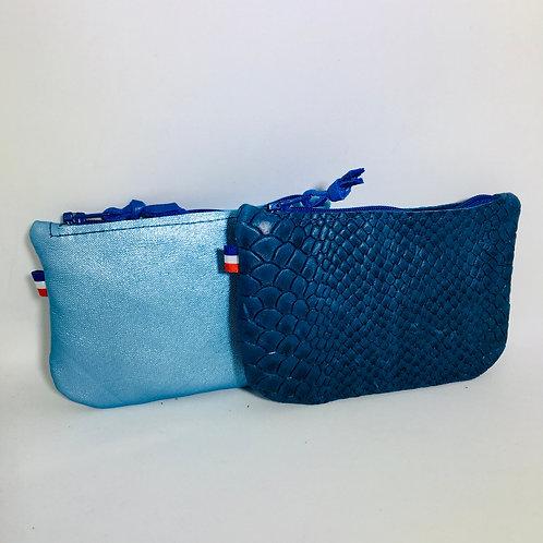 Portes monnaie cuirs bleus