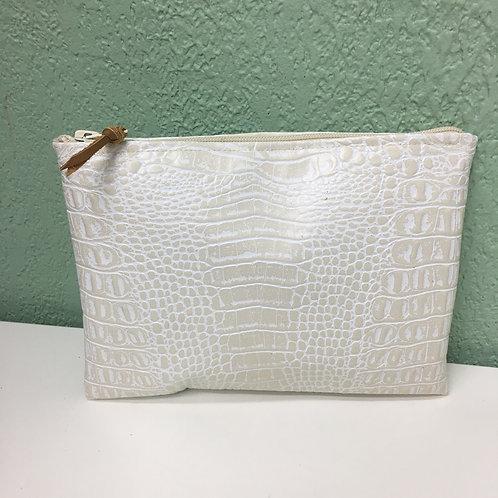 Pochette de sac croco blanc
