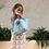 Thumbnail: Sac XS lin bleu ciel «fleurs»