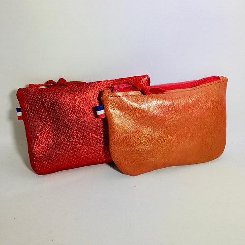Portes monnaie cuirs rouge