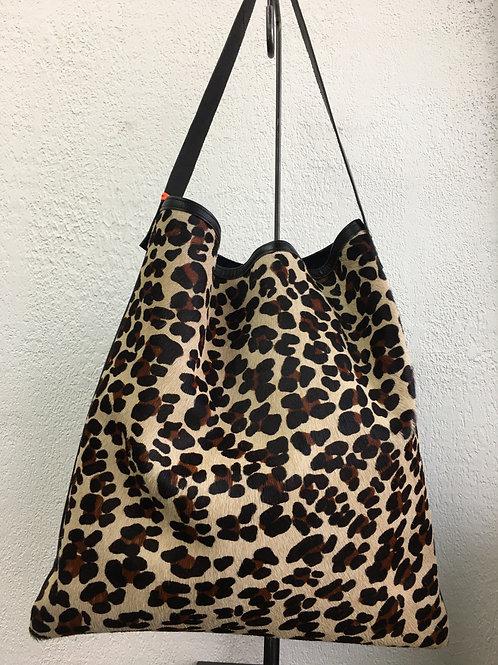 Tote Bag léopard et cuir lisse
