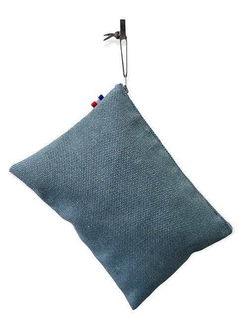 Pochette de sac toile d'ameublement bleue chinée