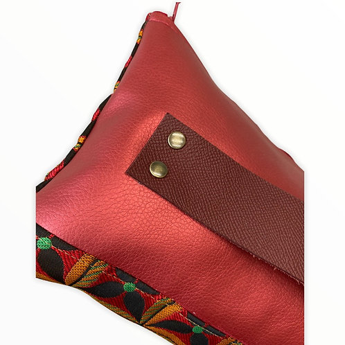 Pochette rectangulaire 70's rouge et or
