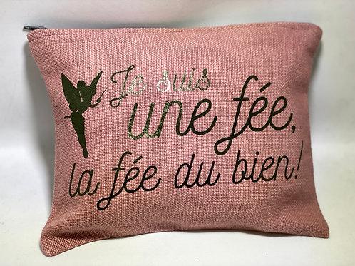 Pochette de sac lin rose «fée du bien»