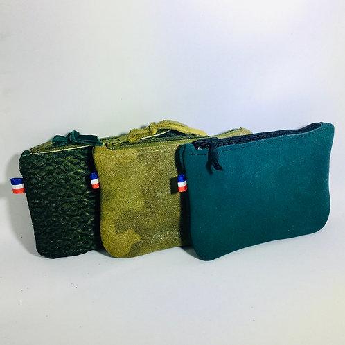 Porte monnaie reptile vert, daim camouflage ou bleu canard
