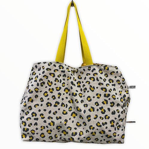 Grand cabas lin «leopard jaune»
