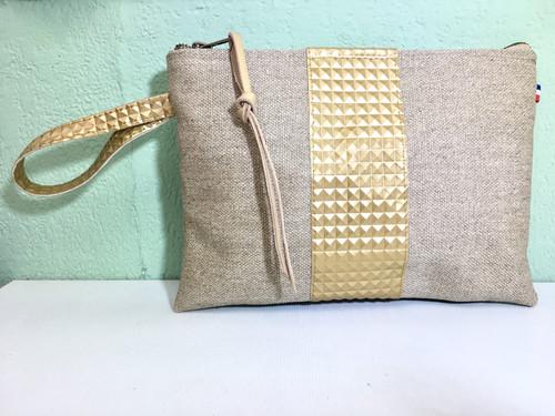cf6be208b6 Pochette de sac lin et simili or