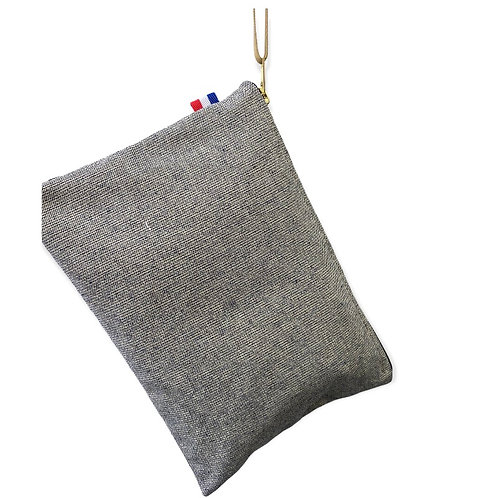 Pochette de sac coton marine et fil d'or