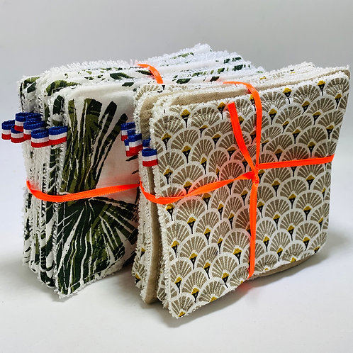 7 lingettes zéro déchet en coton bio
