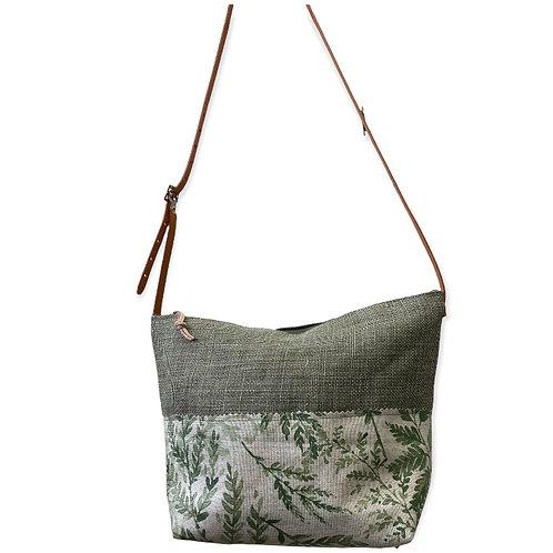 Petit sac avec fond lin tilleul et enduit fougère