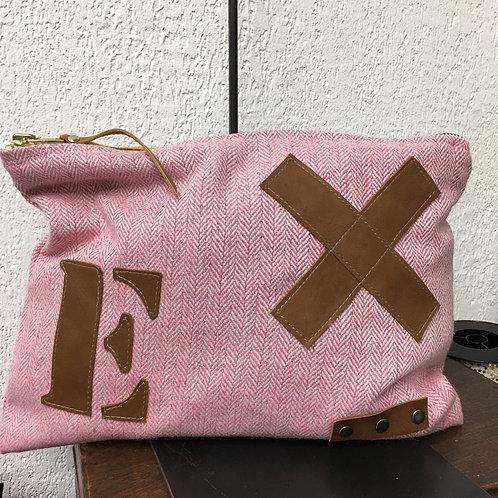 Pochette XL lainage rose et cuir naturel